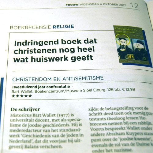 Project 'Christendom en antisemitisme': In de pers: Recensie in Trouw